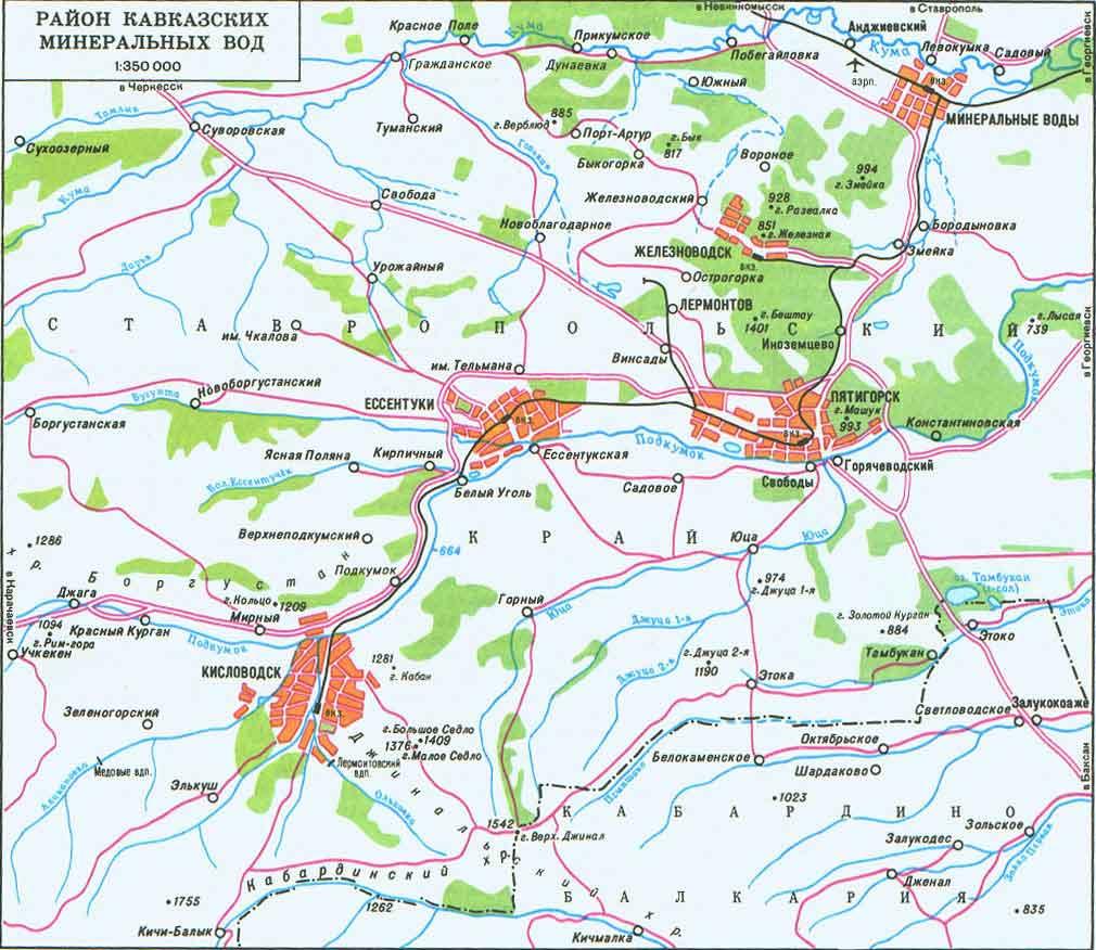 Схема кавказских минеральных вод до с